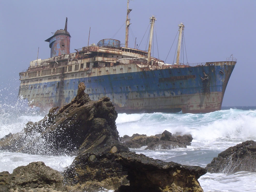 The wreckage of the American Star (SS America) seen from land side, Fuerteventura, Canary Islands