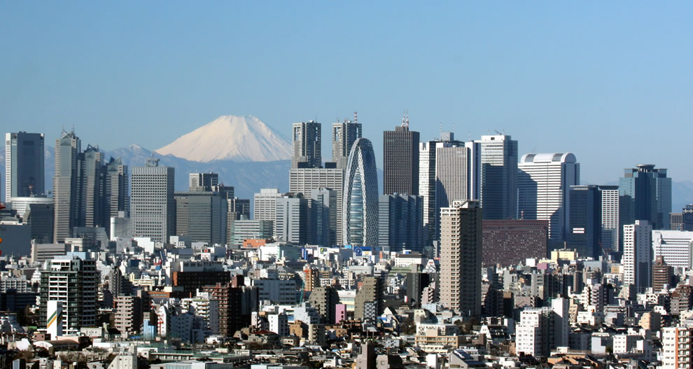 View of Shinjuku skyscrapers and Mount Fuji as seen from the Bunkyo Civic Center in Tokyo
