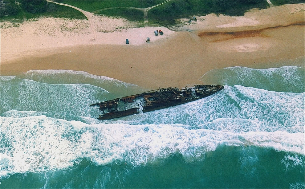 Wreck of the passenger vessel MAHENO on Fraser Island, Qld, 22 Sep 1993. Vessel went ashore and broke up 9 Jul 1935 after tow broke