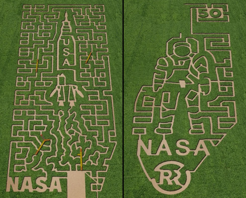 Two of the NASA-themed corn mazes in 2011. Left was at Belvedere Plantation in Fredericksburg, Virginia. Right was the corn maze at The Rock Ranch; The Rock, Georgia