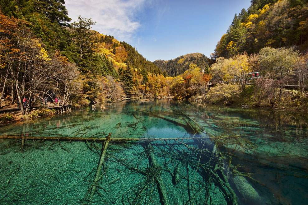 Autumn at Jiuzhaigou Valley National Park, Sichuan, China, colorful fall season