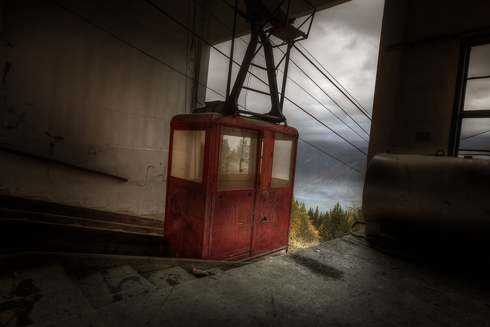 Cable car top, alpine view abandoned sanatorium