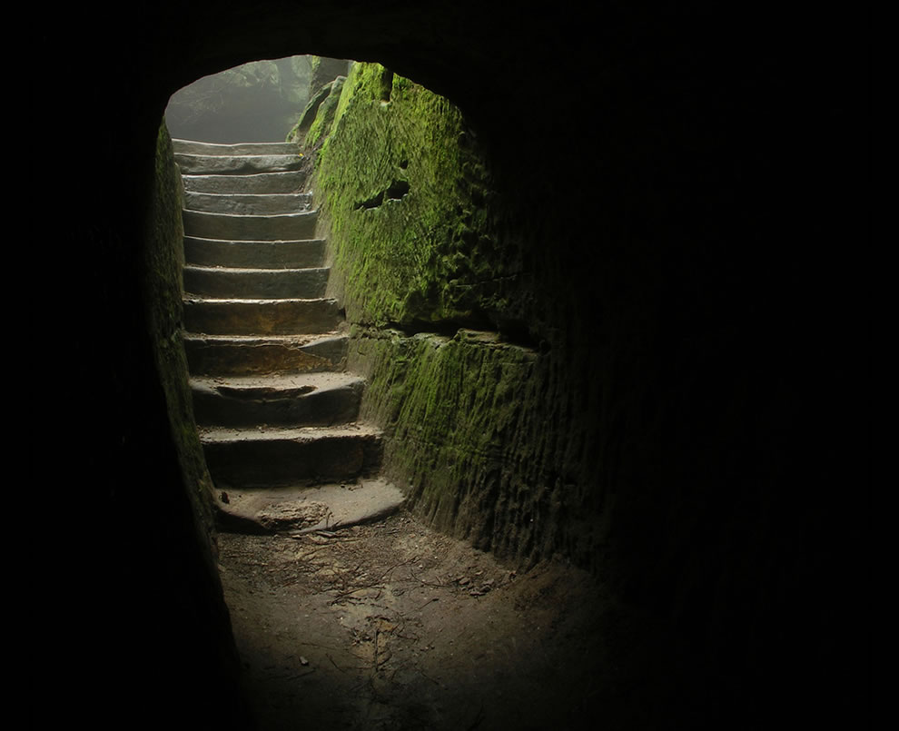 Creepy stairs to cave at Hocking Hills State Park