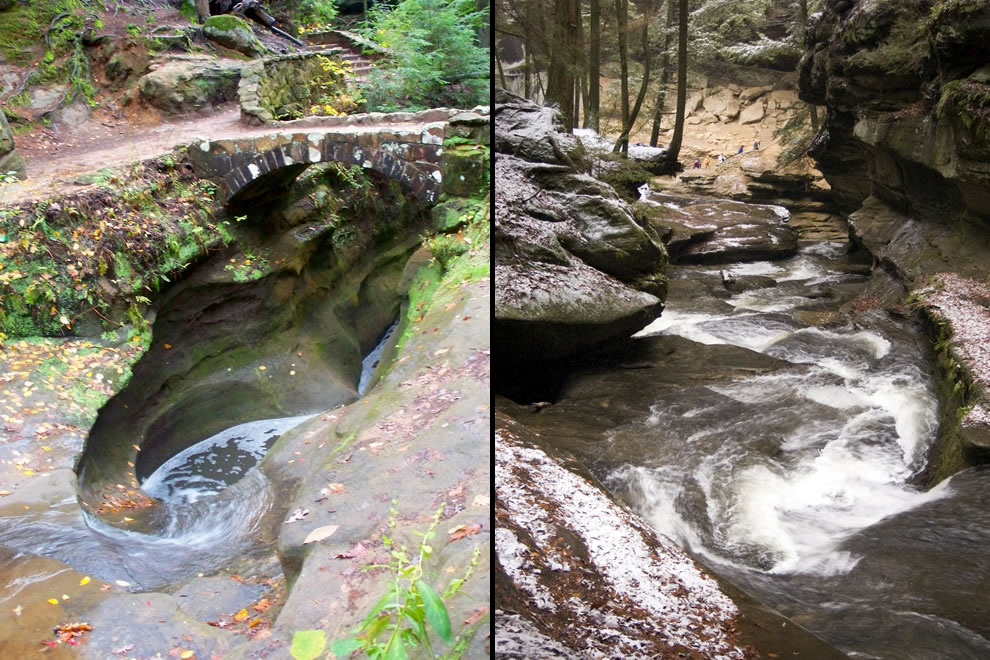 Devil's Bathtub, different views, different seasons, Hocking Hills