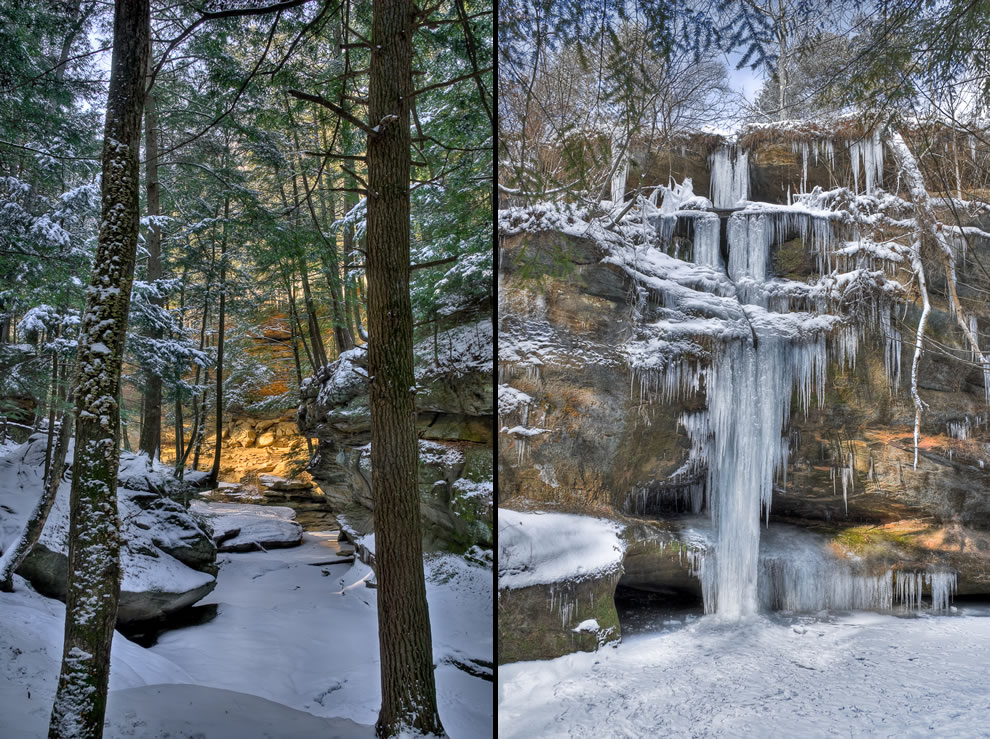 Snow and frozen falls, icicles -- Hocking Hills in the wintertime