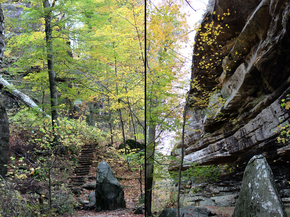 Steps down to Pounds Hollow and Ox-Lot Cave