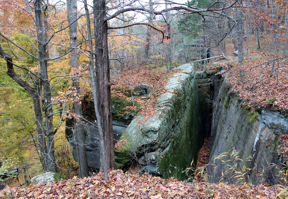 Stone steps from Rim Rock to Pounds Hollow coated in leaves