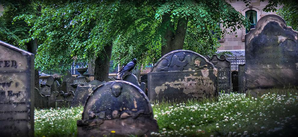 Edgar Allen Poe The Raven, cemetery in downtown Halifax