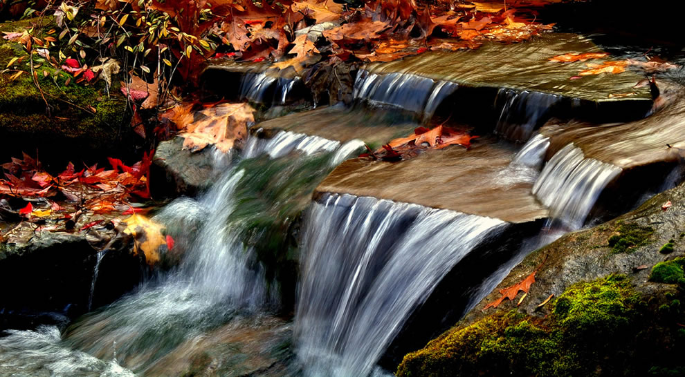 Small autumn waterfall scene with fallen oak leaves, Bay Village, Ohio