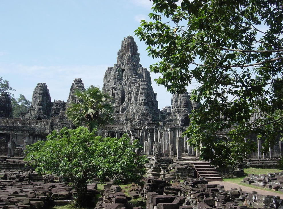 13th century Bayon Khmer Buddhist temple — at Angkor, Cambodia