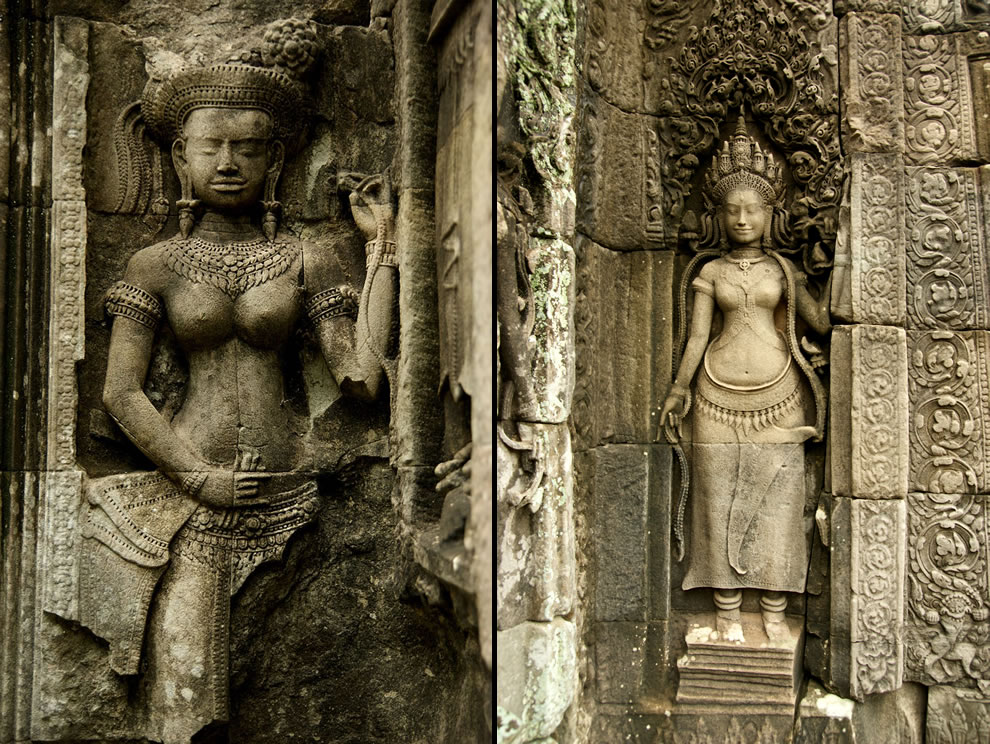 Angkor Thommanon relief & A statue at the Bayon temple in Angkor Thom, Cambodia