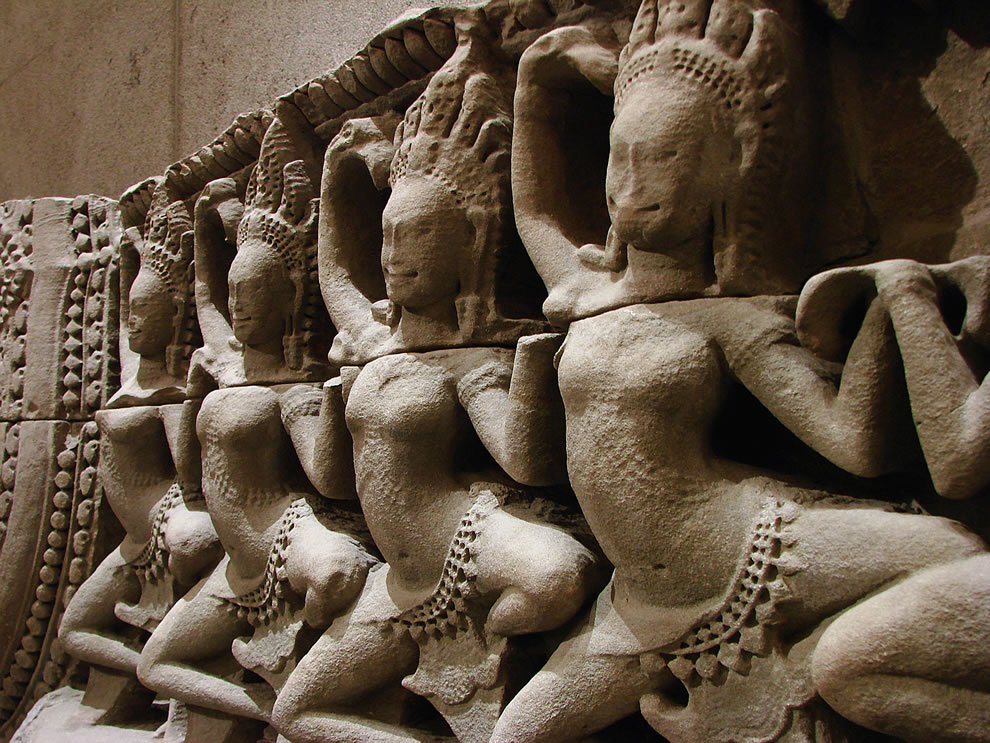 Apsaras, detail of lower pediment. Cambodia, Bayon (Angkor Thom), province of Siem Reap, Bayon style, late 12th - early 13th century sandstone