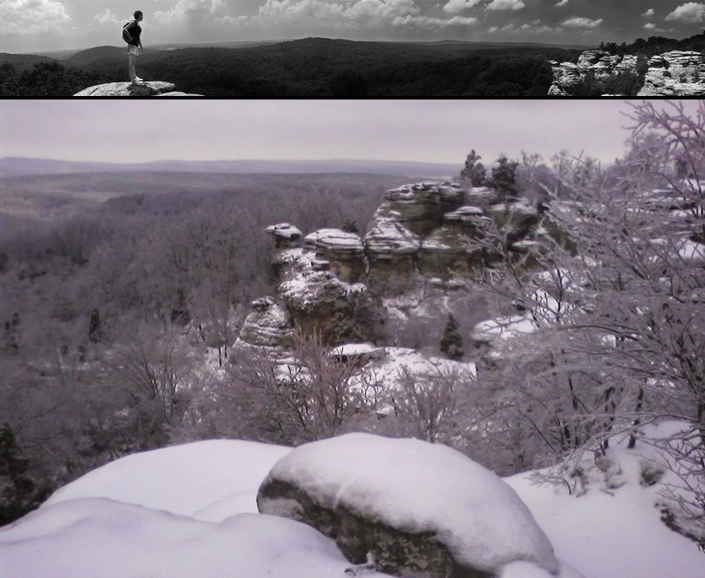 Camel Rock in summer and under winter snow, Garden of the Gods