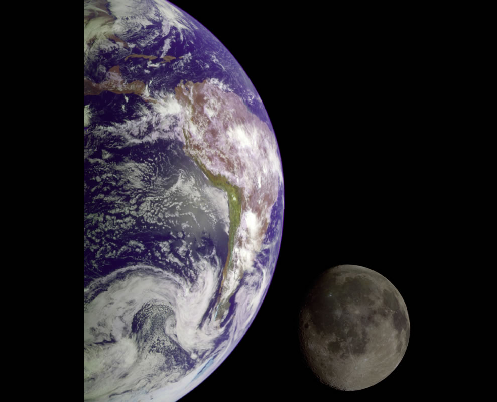 Earth and Moon from Galileo probe, 1990