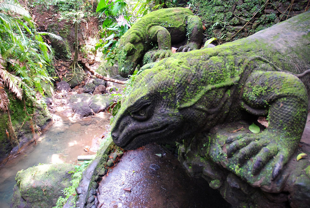 Frozen Dragon Stare These are statues of the Komodo Dragons looking at a river in the Monkey Forest in Ubud, Bali