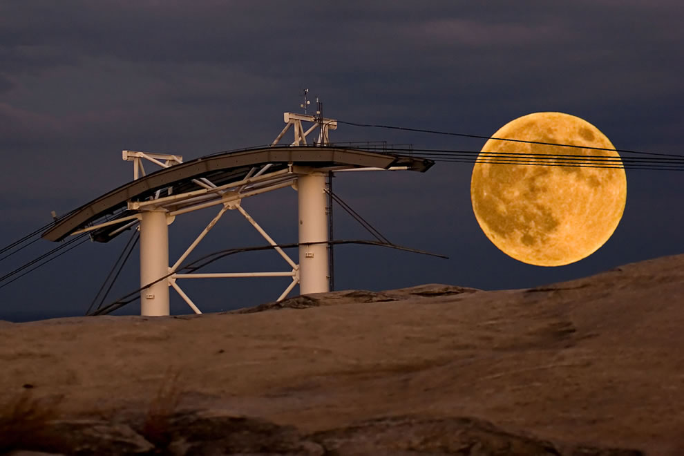 Harvest Moon over Stone Mountain and Skyram Support