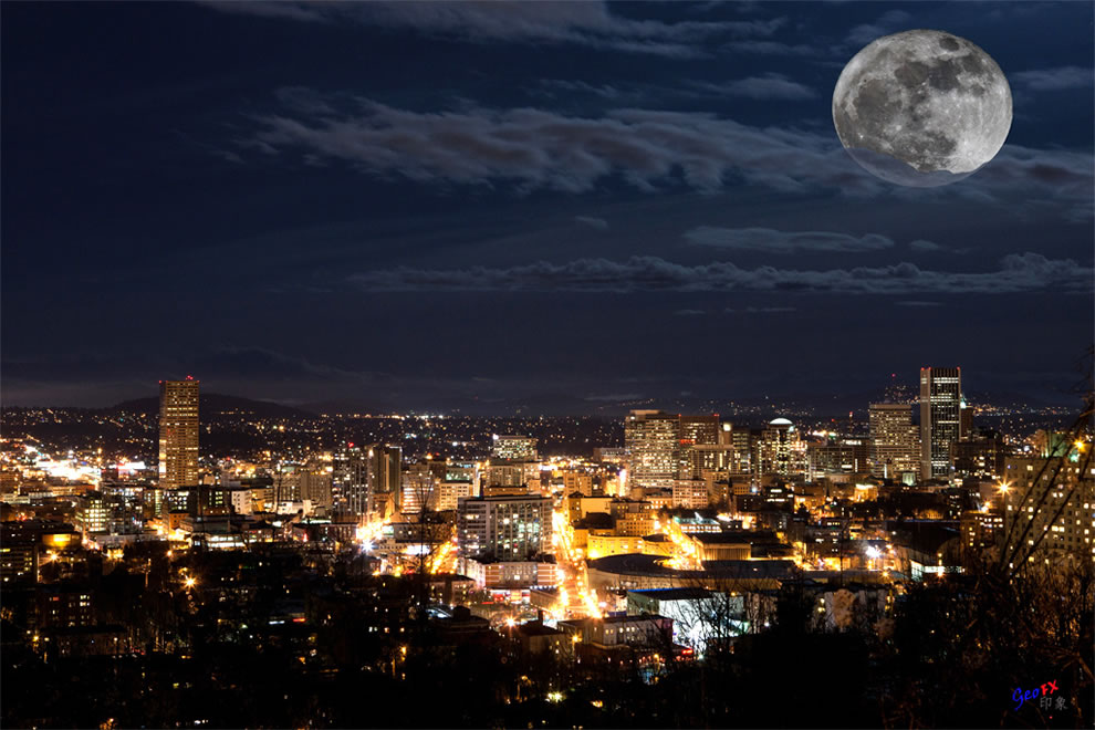 Portland Super Moon Using the moon I captured on same night