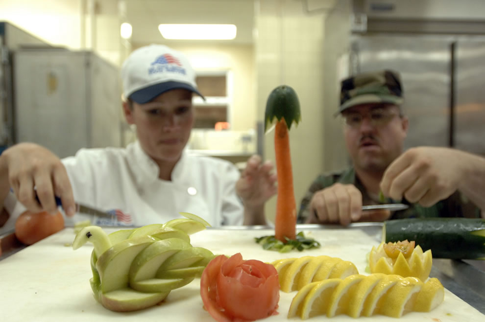 Preparing vegetables for Thanksgiving festivities at Andersen Air Force Base Guam