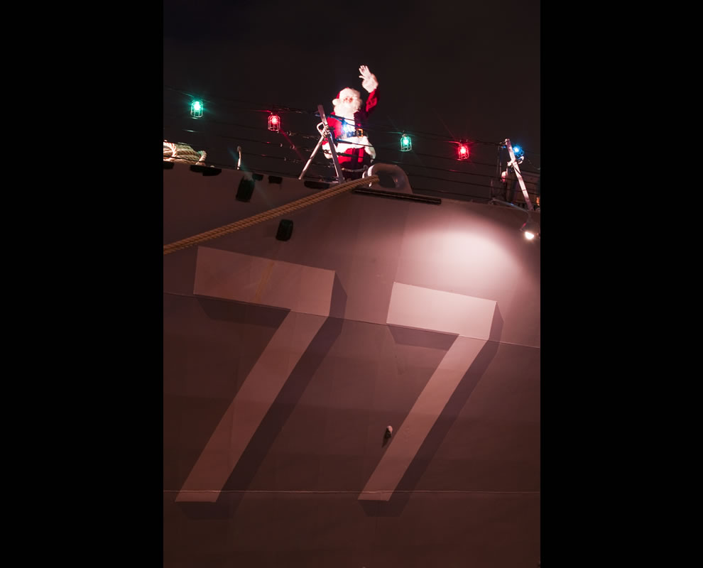 Santa Claus is spotted aboard the guided-missile destroyer USS O'Kane