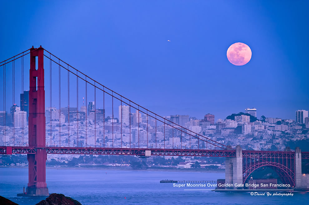 Super Moonrise Over Golden Gate Bridge San Francisco