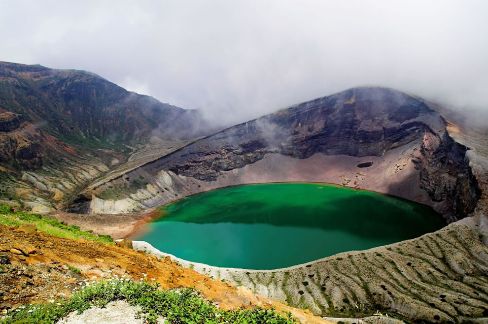 The Okama Crater Lake at Mount Zaō, Japan