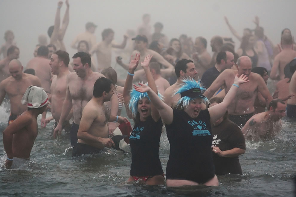 Annual New Year's Day Polar Bear Swim in Lake Ontario