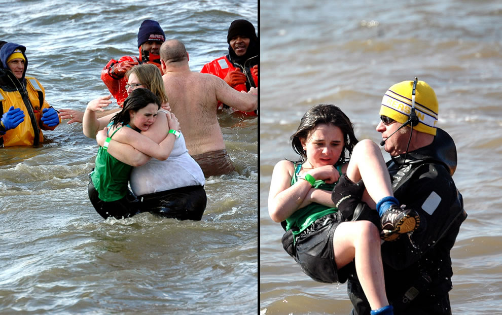 Cold water is too much for this young girl hugging her mom, then being rescued during the polar bear plunge
