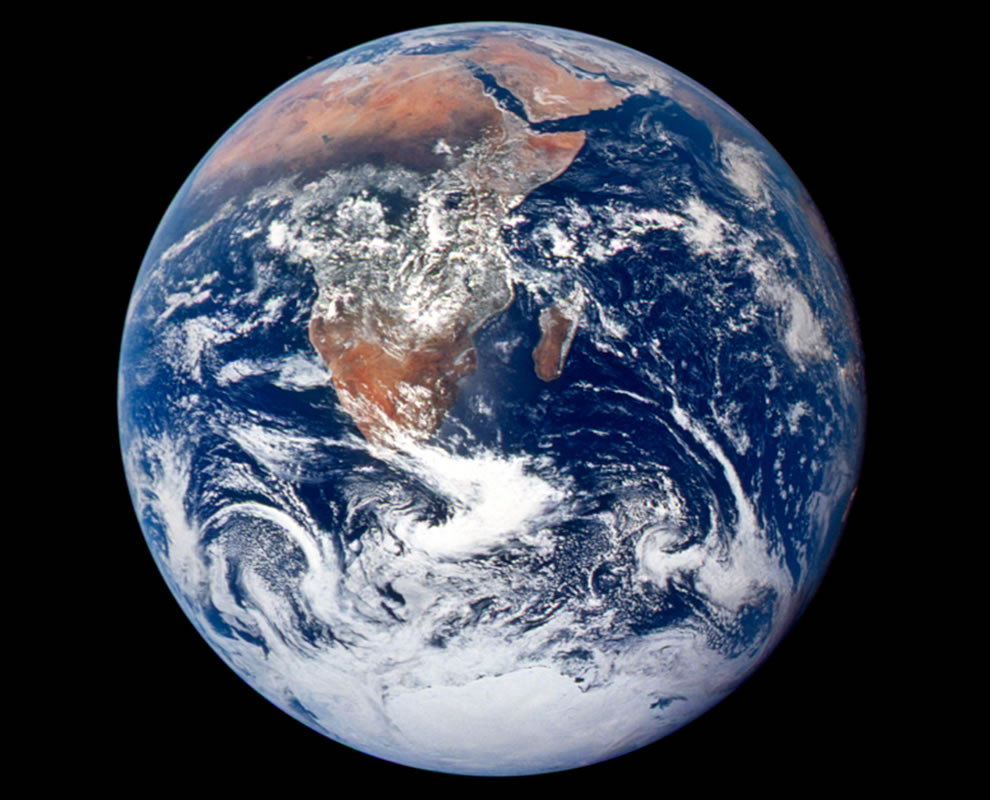 First Blue Marble image captured from Apollo 17 on Dec 7, 1972