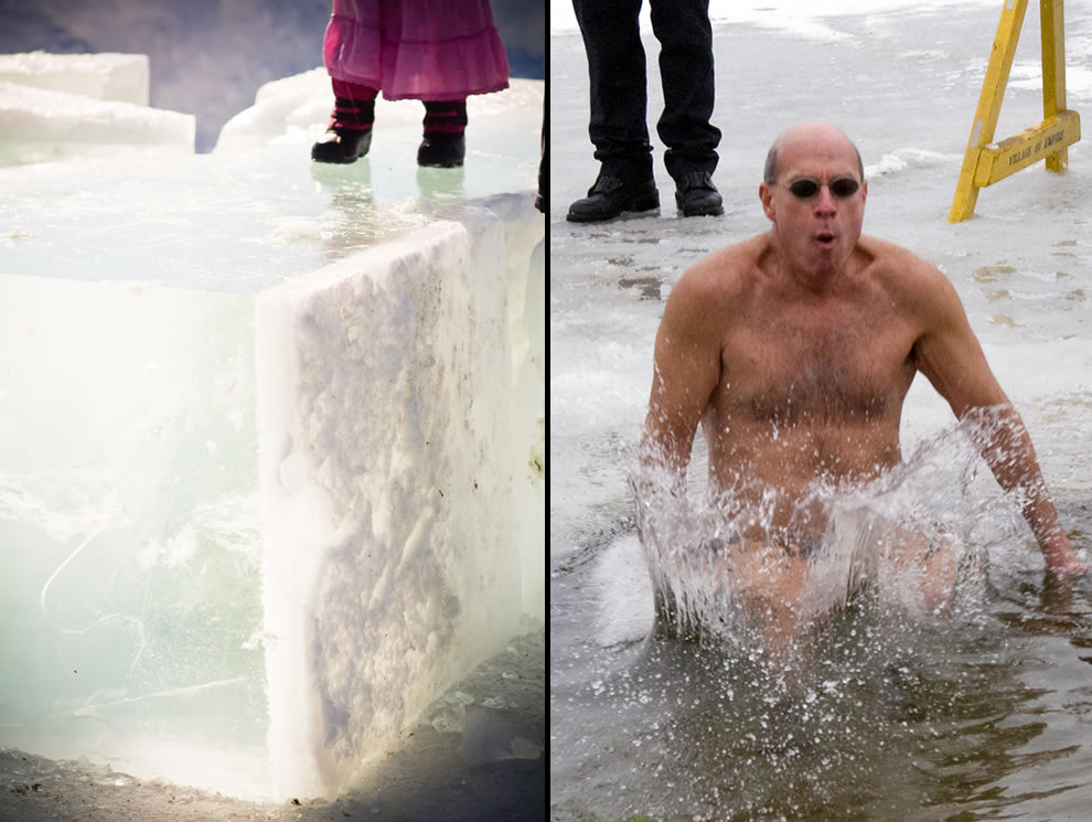 Hole cut in the ice for shockingly freezing polar bear plunge