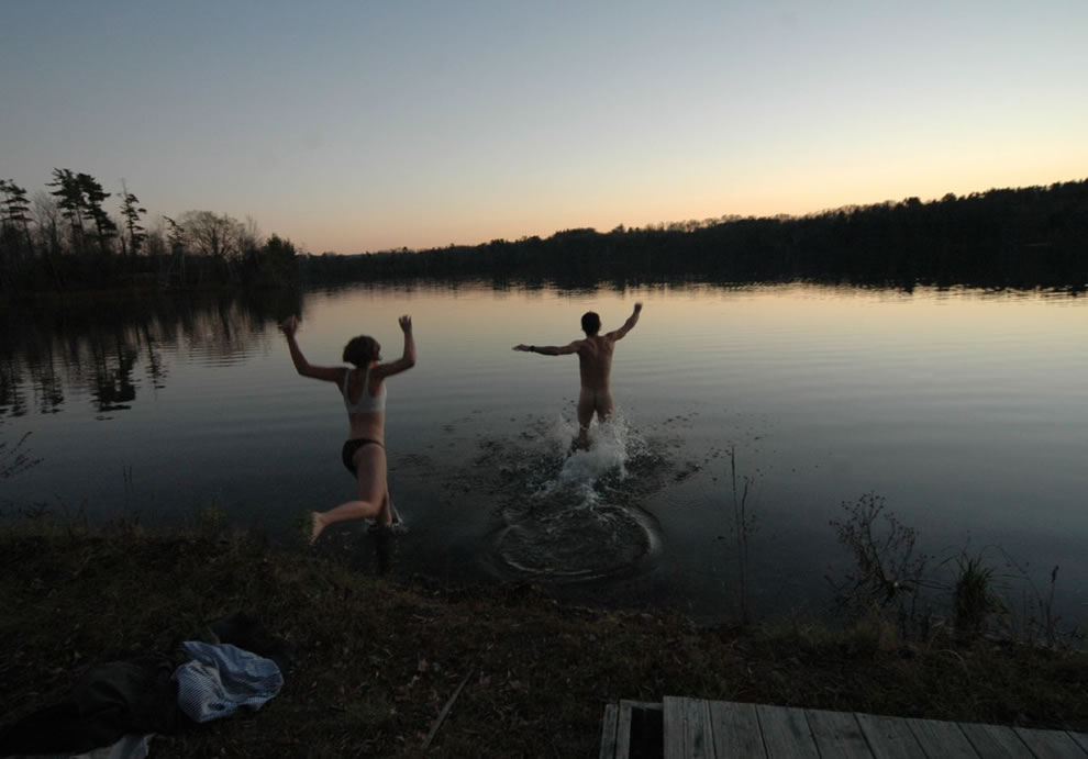 Laurel Lake Massachusetts, skinny dipping, private polar bear plunge