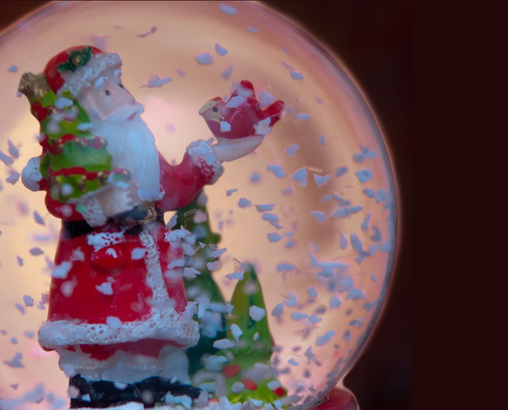 Macro Santa snow globe