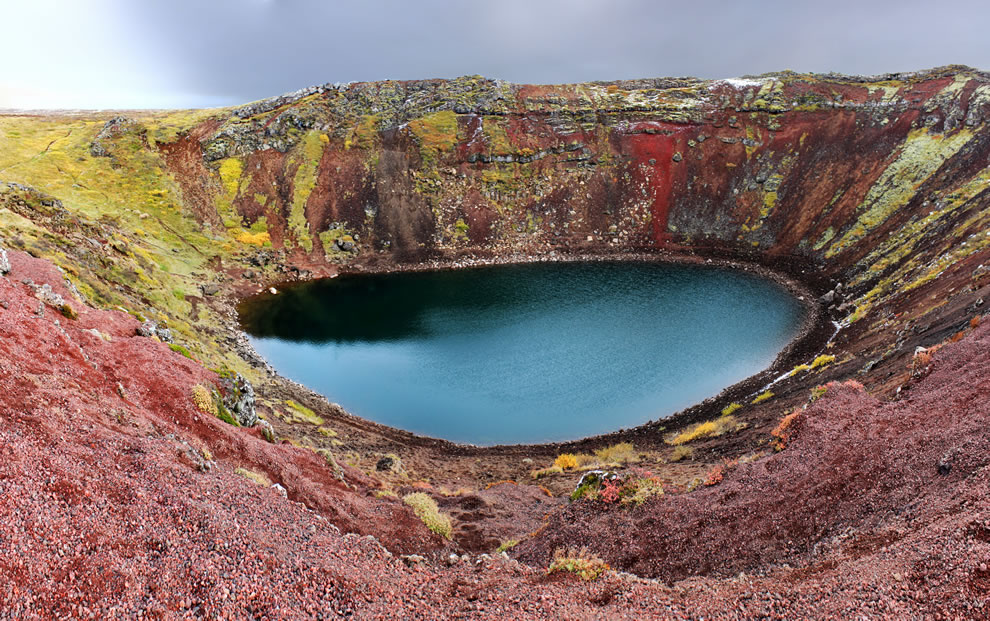 Panoramic photo of Kerið crater lake, Iceland