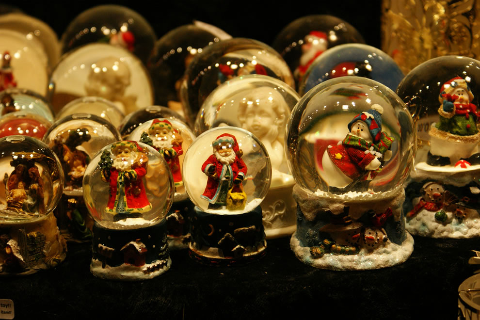 Snow Globes at night in Birmingham's Annual German Christmas Market