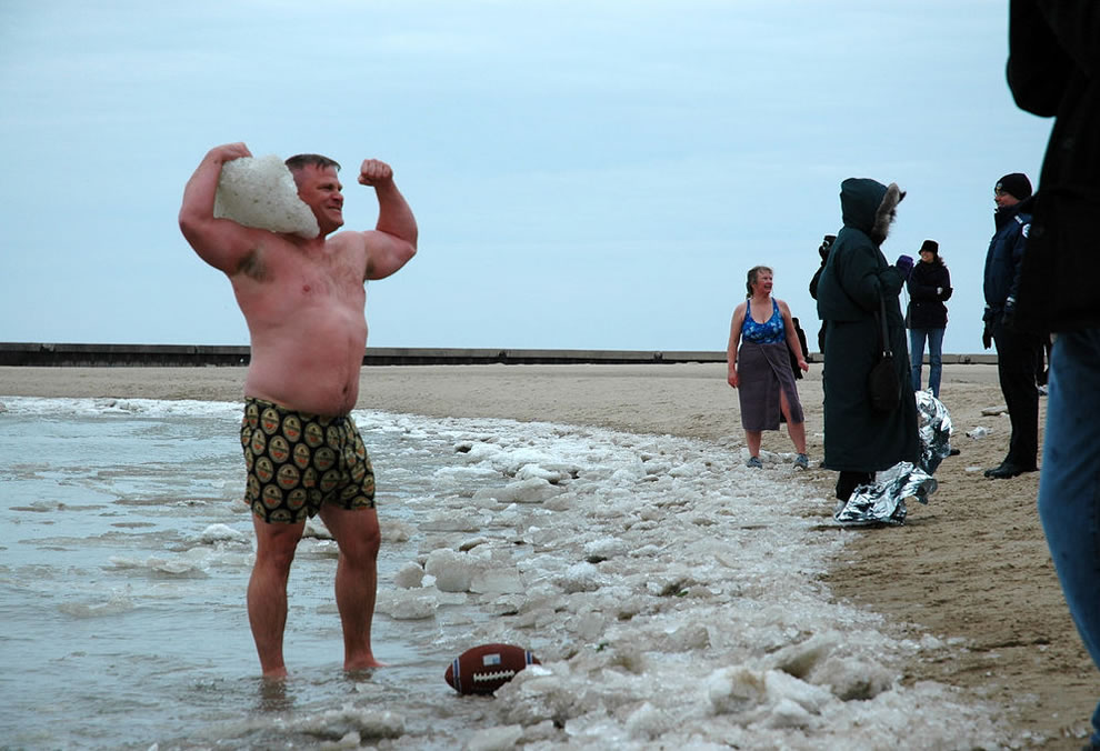 Strongman loves his ice, Polar Bear Swim at North Avenue beach, Chicago