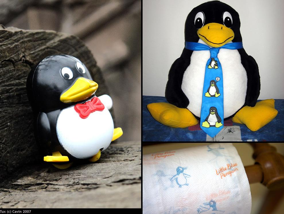 Tux Calvin, Tux with Tux tie, Tux toilet paper, Linux mascot tux