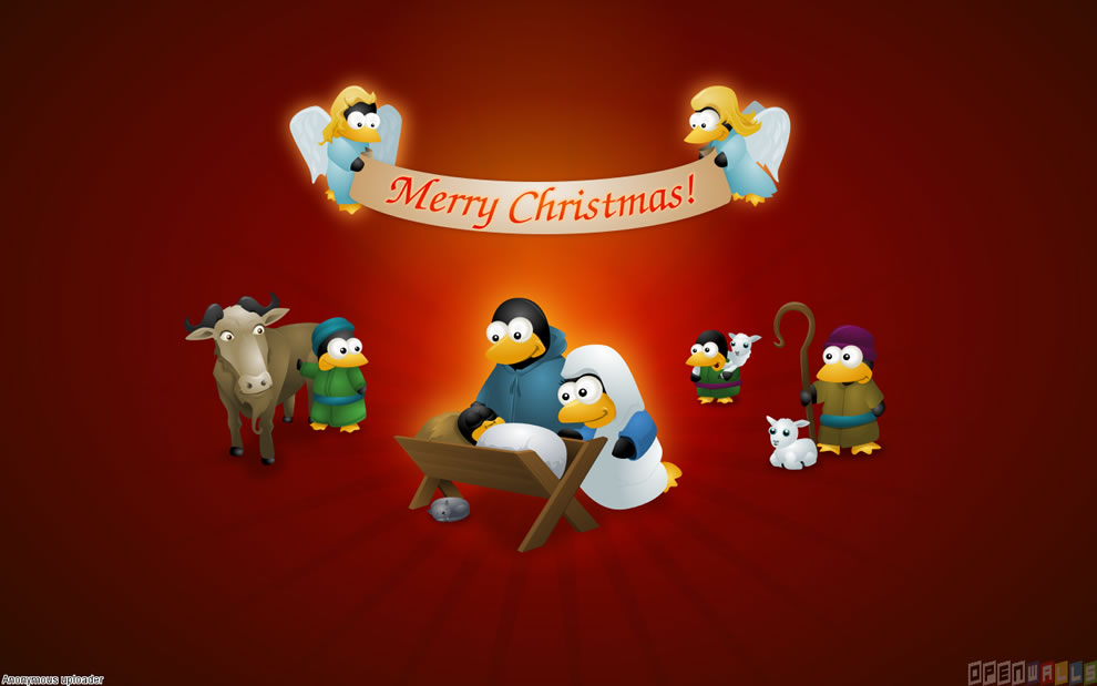 Tux Nativity Merry Christmas