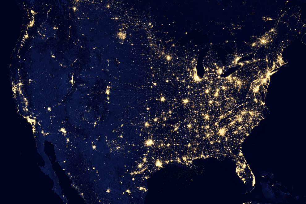 USA at night, twinkling with lights