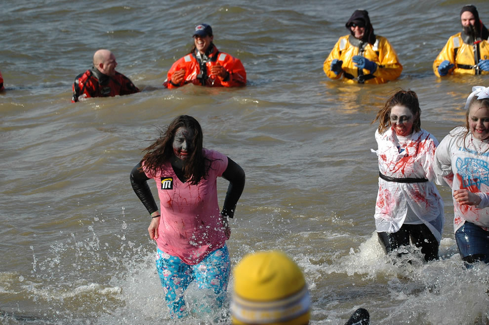 Zombies at a polar bear swim