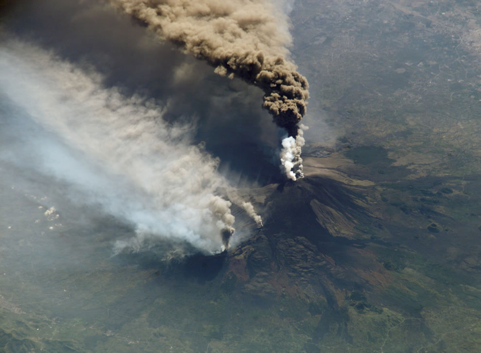#14th highest point on any island worldwide, Etna eruption seen from the International Space Station