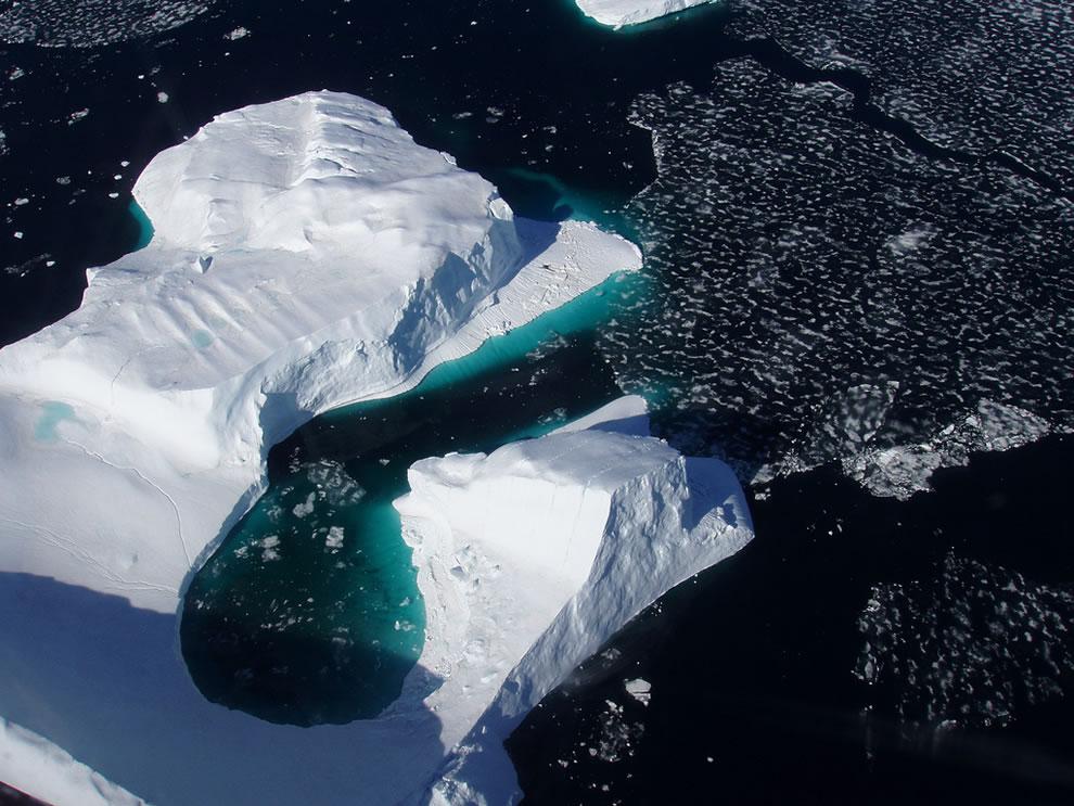 Aerial of icebergs in Uummannaq Greenland