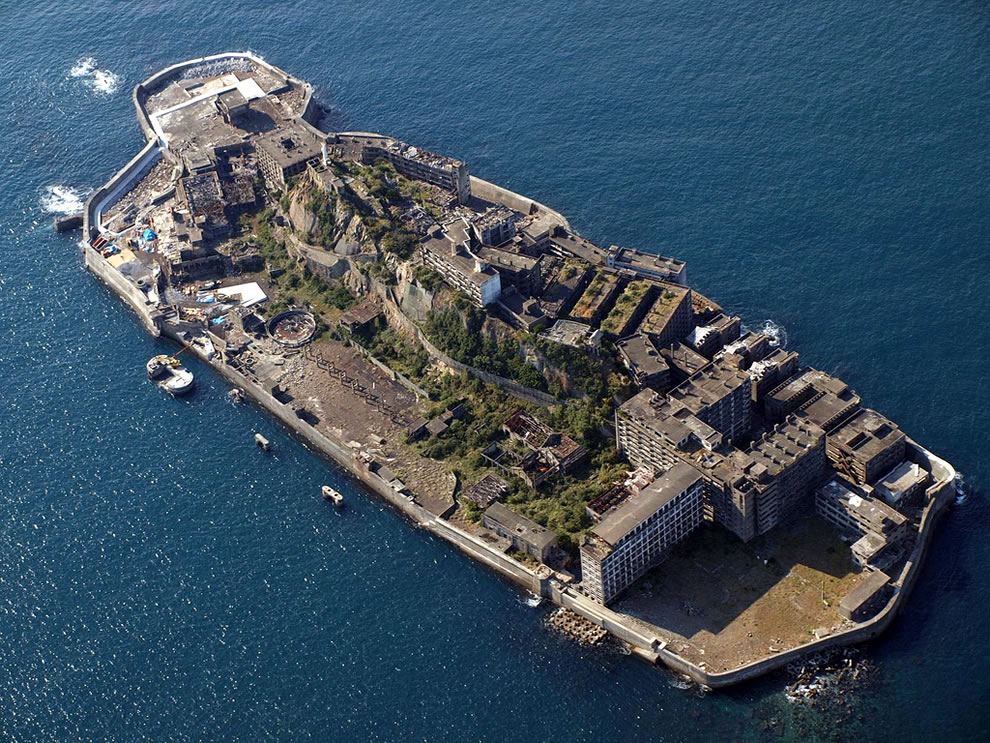 Aerial view of Battleship Island, Gunkanjima, abandoned island in James Bond Skyfall