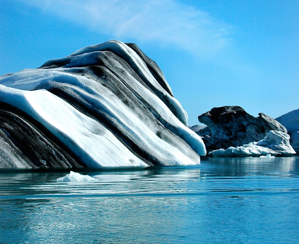 Black striped iceberg in Jökulsárlón