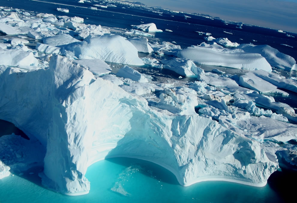 Aerial view of Cape York, Greenland, Icebergs
