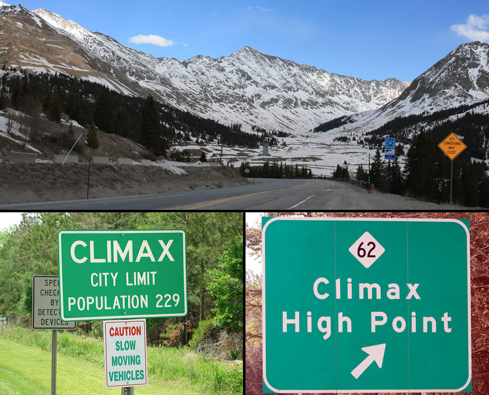 Climax Colorado, high point is redundant but icy conditions may exist A heavenly shot of Chalk Mountain, taken from Fremont Pass, just across from the Climax Mine along Colorado State Highway 91
