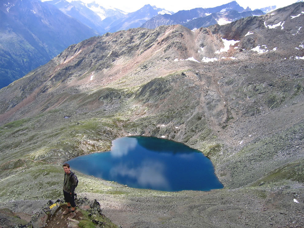Heart-shaped blue body of water found high in the mountains of Austria