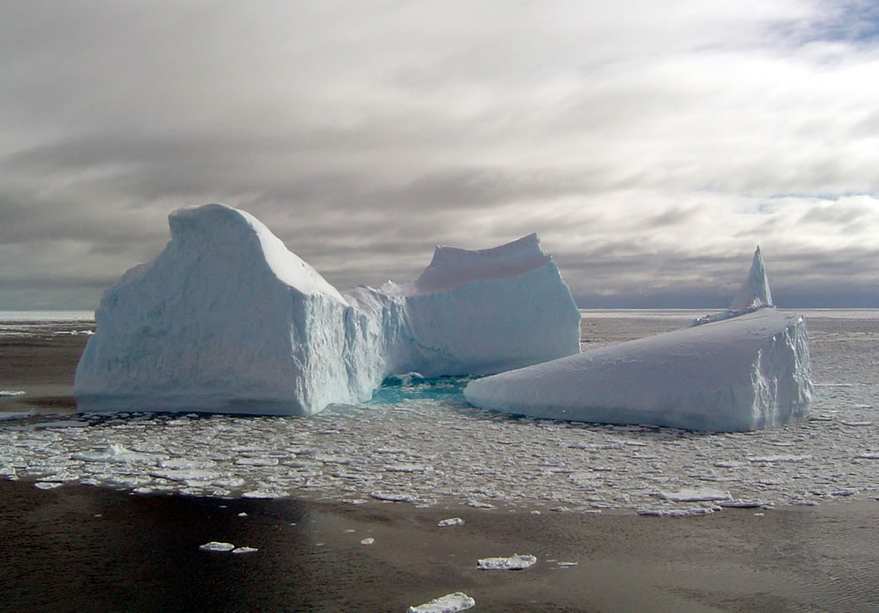 Icebergs can develop into a variety of shapes as they break apart