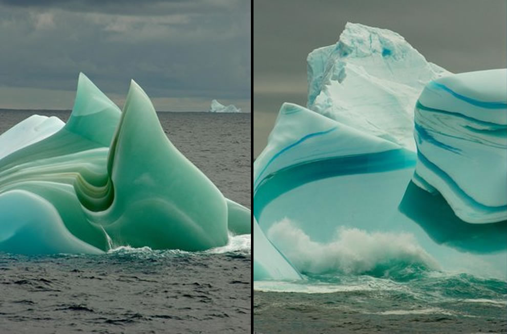 Jade and striped icebergs
