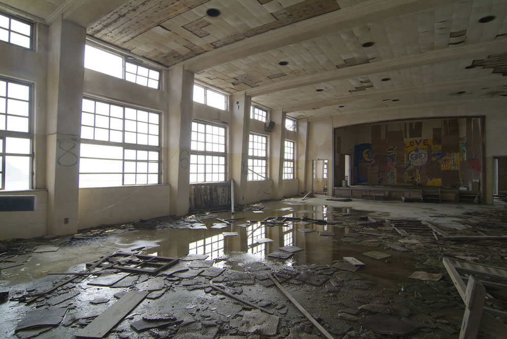 Love graffiti and leaky roof at Hashima, James Bond Skyfall ruined island