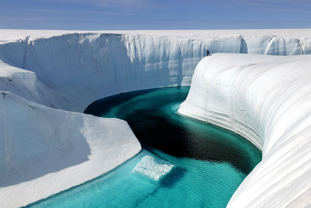 Melting iceberg as seen in meltwater channel in the Greenland ice sheet
