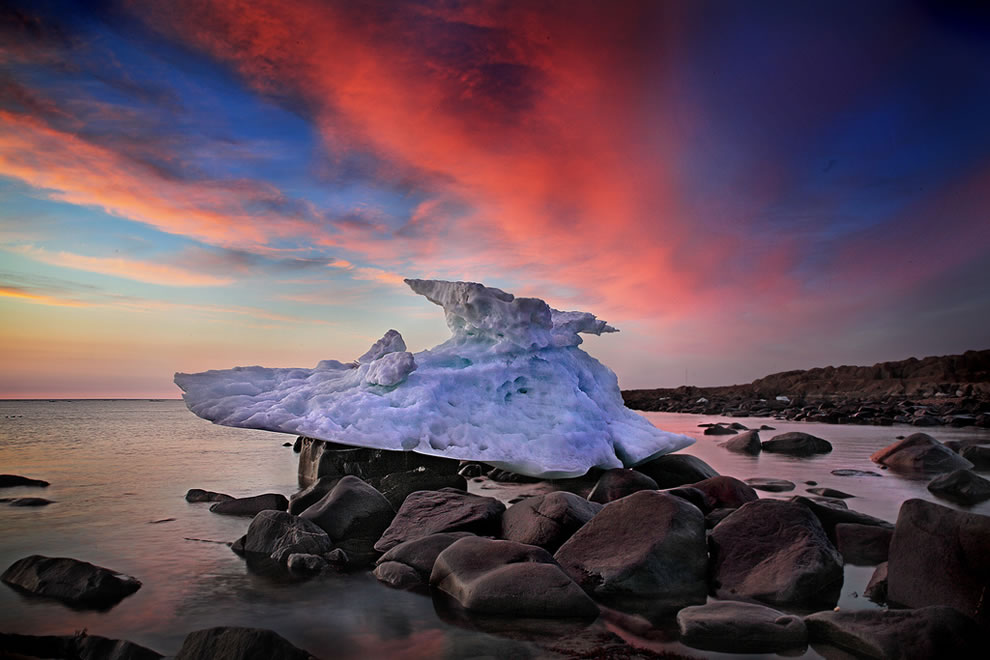 Stranded iceberg at sunrise on Hudson Bay, Churchill, Manitoba